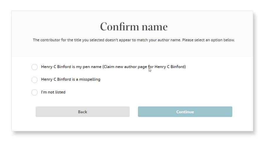 amazon author central confirm name