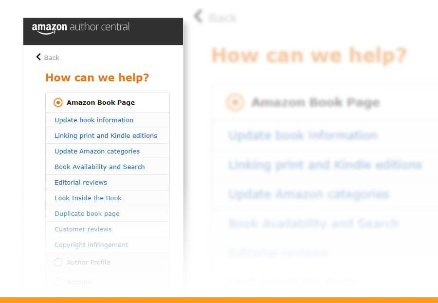 amazon author central customer support
