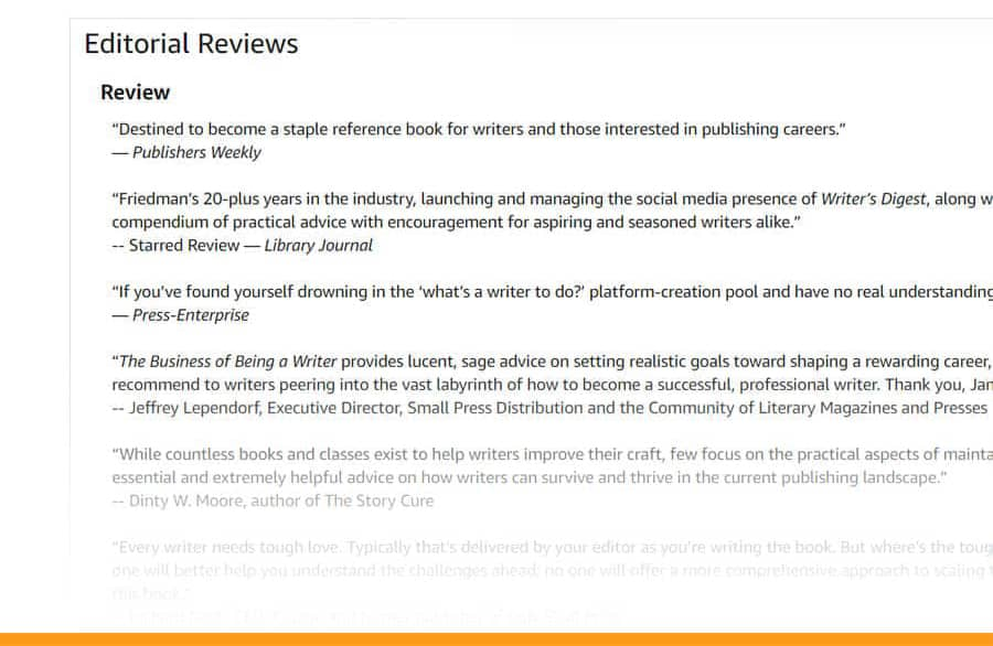 amazon author central editorial