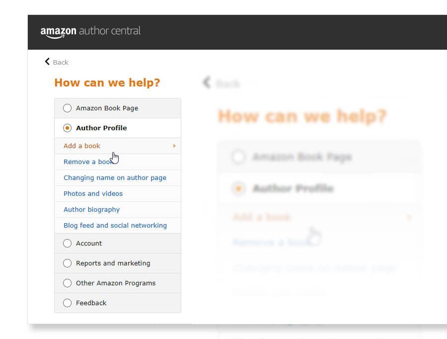 amazon author central help