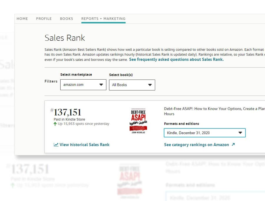 amazon author central sales rank